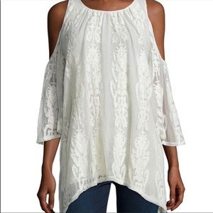 XCVI cold shoulder embroidered mesh lace blouse